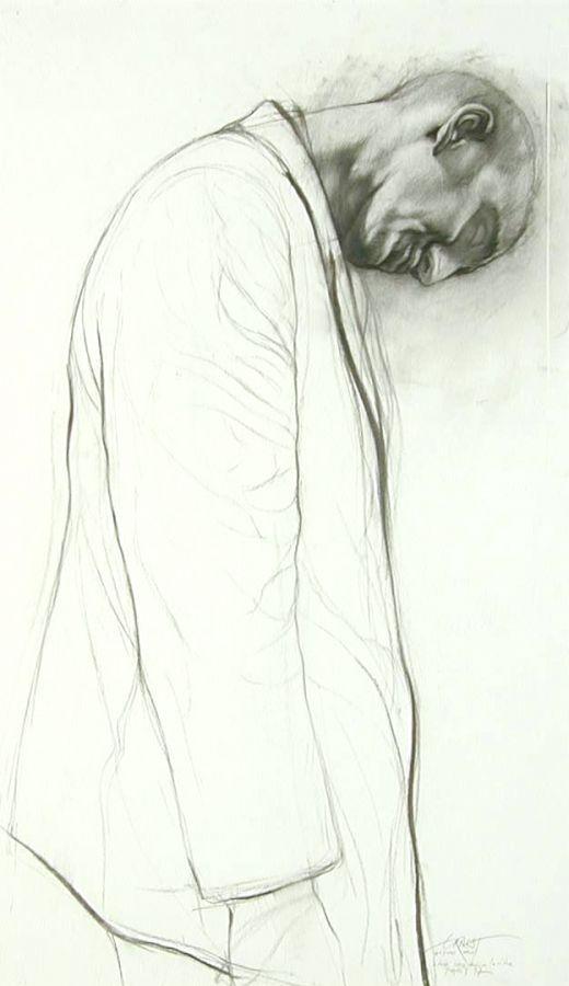 Ernest PIGNON-ERNEST/  Etude pour derrière la vitre 1997/  Fusain sur papier, une photo/  101.5 x 59.5 cm/  39 15/16 x 23 7/16 in