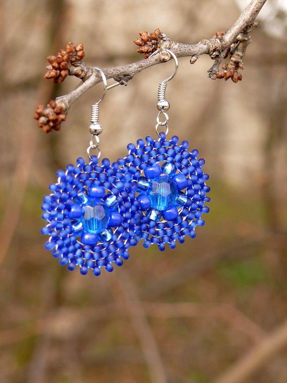 Small chandelier bead weaving earrings in royal blue