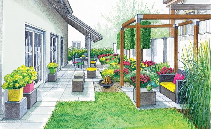Schmale Gärten breiter wirken lassen