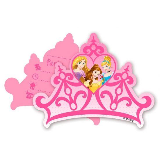 Disney prinses uitnodigingen. Set van zes uitnodigingen met Disney prinsessen print. De uitnodigingen worden met enveloppen geleverd.