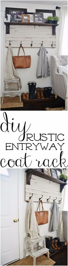 Best Country Decor Ideas - DIY Rustic Entryway Coat Rack - Rustic Farmhouse Decor Tutorials and Easy Vintage Shabby Chic Home Decor for Kitchen, Living Room and Bathroom - Creative Country Crafts, Rustic Wall Art and Accessories to Make and Sell