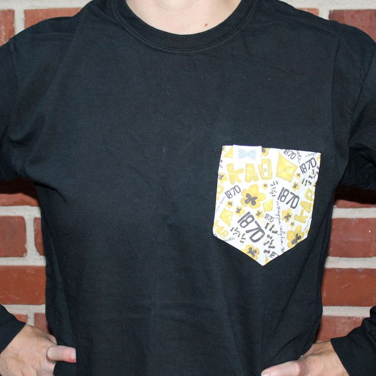 Kappa Alpha Theta Long Sleeve Tee Shirt in Black with Pattern Pocket by the Frat Collection