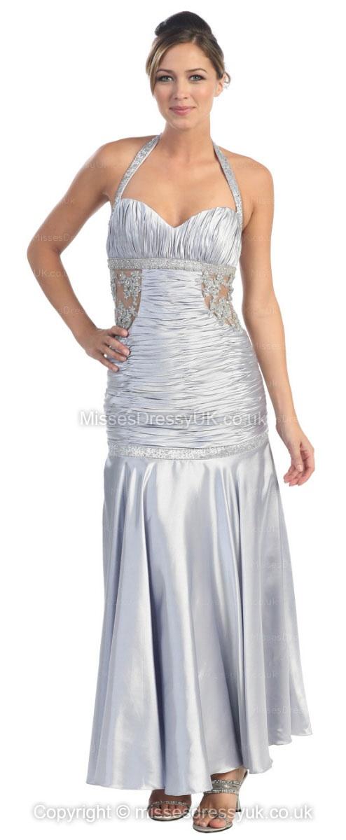 Trumpet/Mermaid Halter Taffeta Ankle-length Silver Ruffles Evening Dress