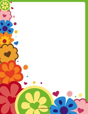 This printable hippie border is partially covered in colorful, heart flowers. It's groovy. Free to download and print.