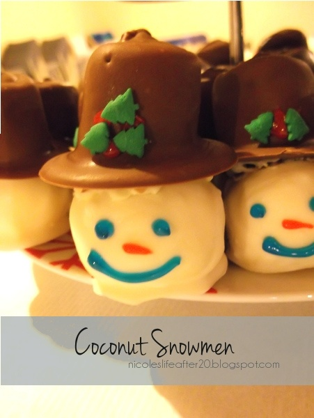 Recipe for Coconut Snowmen, with the deets on how to put these bad ...