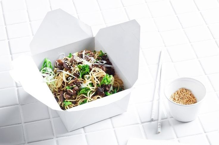 Sticky beef noodles with sesame mushrooms