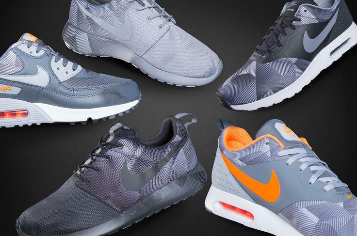 """Geometric Print"" on the Nike Air Max Tavas, Air Max 90 and Roshe Run. Via @champssports (Level 3, West + Level 2, East)"