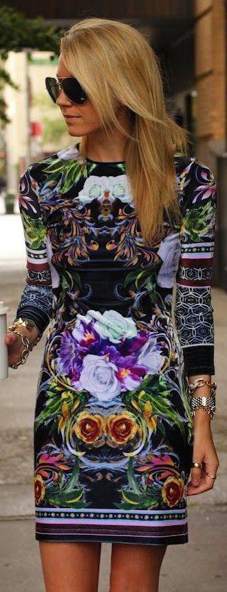 Long Sleeve Floral Dress Street Style