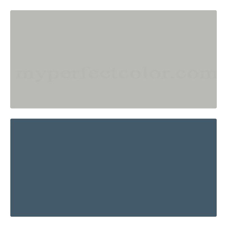 Coventy Gray on top, Van Deusen Blue on the bottom, white trim. (Benjamin Moore)