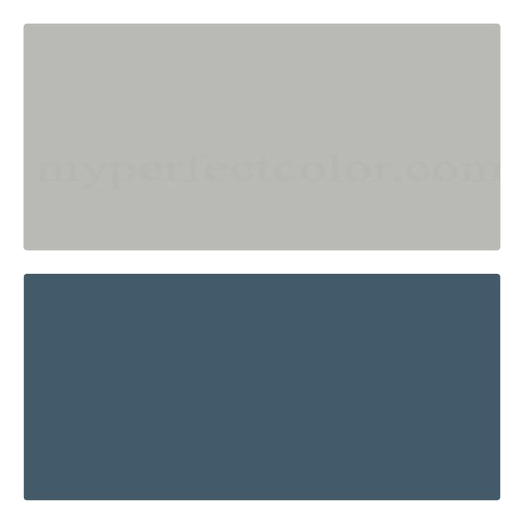 Coventy Gray on top, Van Deusen Blue on the bottom, white trim. (Benjamin Moore)