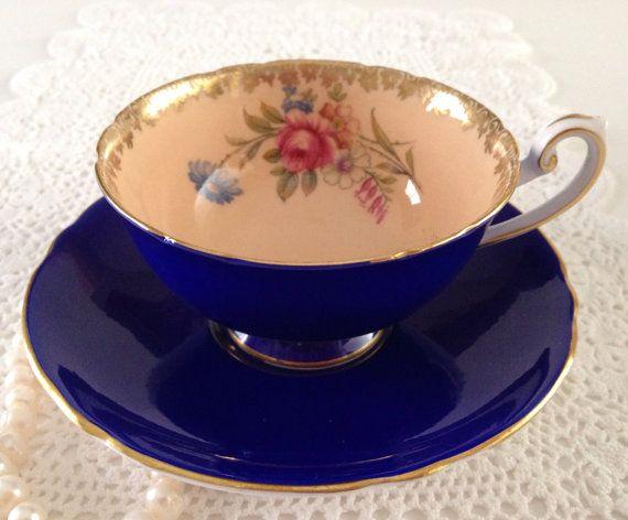 Vintage Shelley Cobalt Tea cup & Saucer  by NicerThanNewVintage