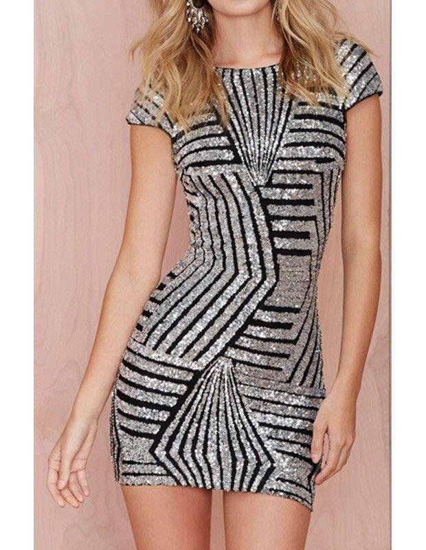 Short Sleeve Backless Geo Stripe Sequin Silver Bodycon Mini Club Dress