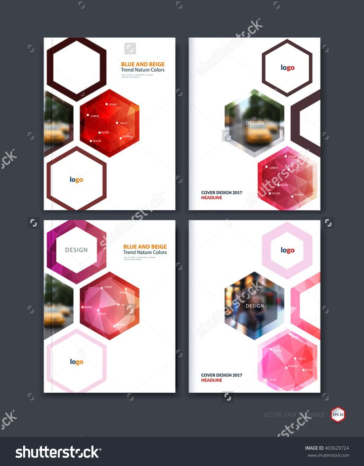 Abstract Cover Design, Business Brochure Template Layout, Report, Booklet In A4 With Red Hexagonal Geometric Shapes On Polygonal Background. Creative Vector Illustration. - 403629724 : Shutterstock