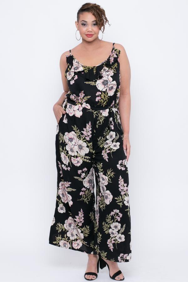 ec95fb534e5 Plus Size Spaghetti Strap Ruffle Floral Jumpsuit - Black in 2018 ...