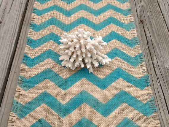 Burlap Chevron Table Runner Turquoise Hand Painted Grain Sack Table Decoration 12x72 by sweetjanesplan on Etsy, $36.00