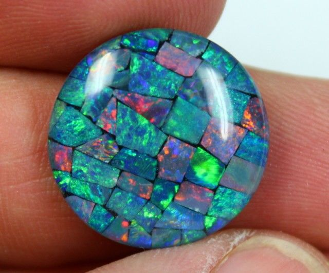 15.05 CTS TOP QUALITY ROUND MOSAIC OPAL ELECTRIC COLOR PLAY C5493