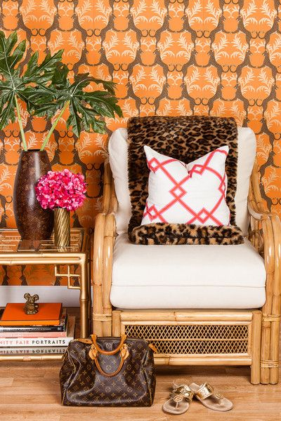 Society Social Official Photography June 2012 | Lolita Rattan Club Chair, Red on Pink Lattice Pillow, Vintage Brass Dog
