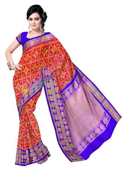 ikat kanchi mixed color saree