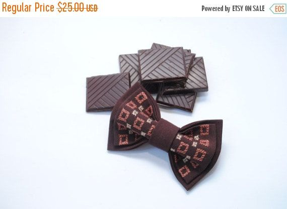 Embroidered bowtie. Great gift for him ❘❘❙❙❚❚ ON SALE ❚❚❙❙❘❘   #Zoriy Brown bow tie #Bowtie with embroidery Summer celebrations  Men's bowtie Gifts for dad Chocolate #Papillon Father's day gift Usher's tie  Colou... #bowtie #bowties #papillon #zoriy