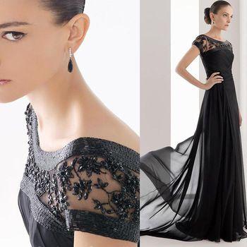 Women Chiffon 2015 Mother of the Bride Dresses Pleat Beaded Floor Length Vestido Mae Da Noiva Stylish Black Evening Gowns MM005