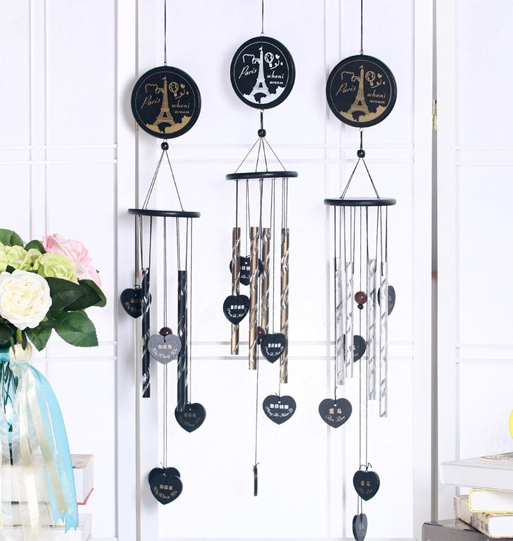 White tower bronze solid wood home door decoration ornaments birthday blessing wind chime personality gift bedroom Yantai pendan