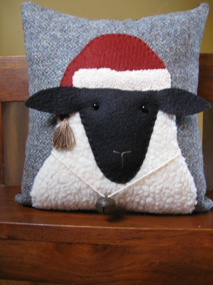 Christmas Sheep Primitive Pillow.- do one without Santa hat to use year round