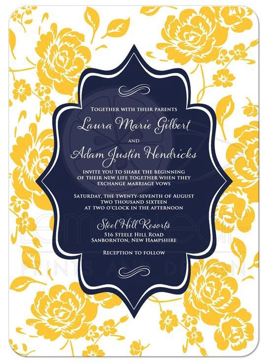 Navy, yellow and white wedding invitations from @lemonleafprints