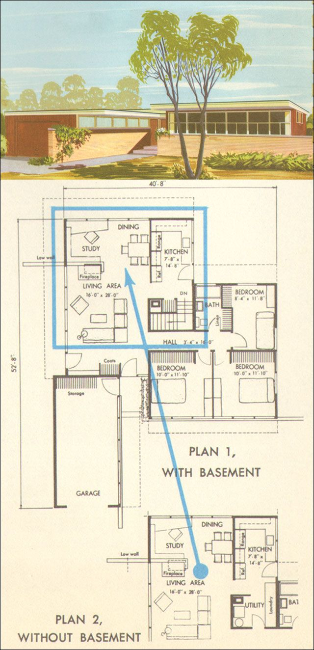 1954 national plan service home no 5314 1950s house plansmodern