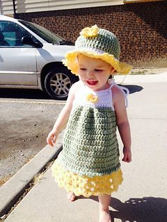 A sweet and easy summer dress for those little ones to be comfortable and adorable. This could easily be made in varigated for a completely different look.