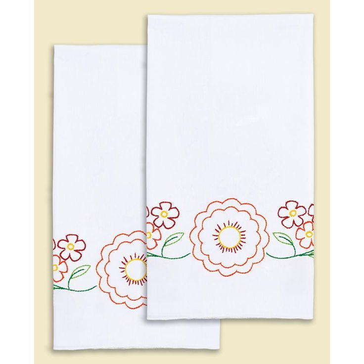"Stamped White Decorative Hand Towel Pair 17""X28""-Fiesta Flowers"