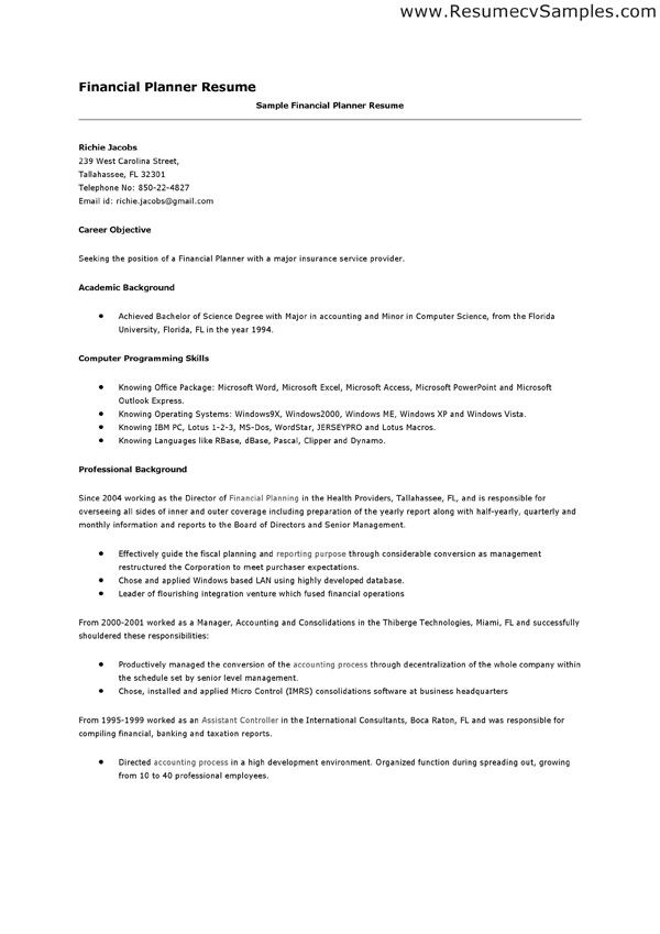 resume financial advisor examples free bank samples across all - financial planner resume