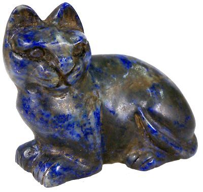 """Ancient Egyptian Carved Lapis Lazuli Reclined Cat - 2"""" (5.08 cm) x 1.75"""" (4.445 cm) - Ptolemaic Dynasty 323-30 BC (last dynasty of Ancient Egypt)"""