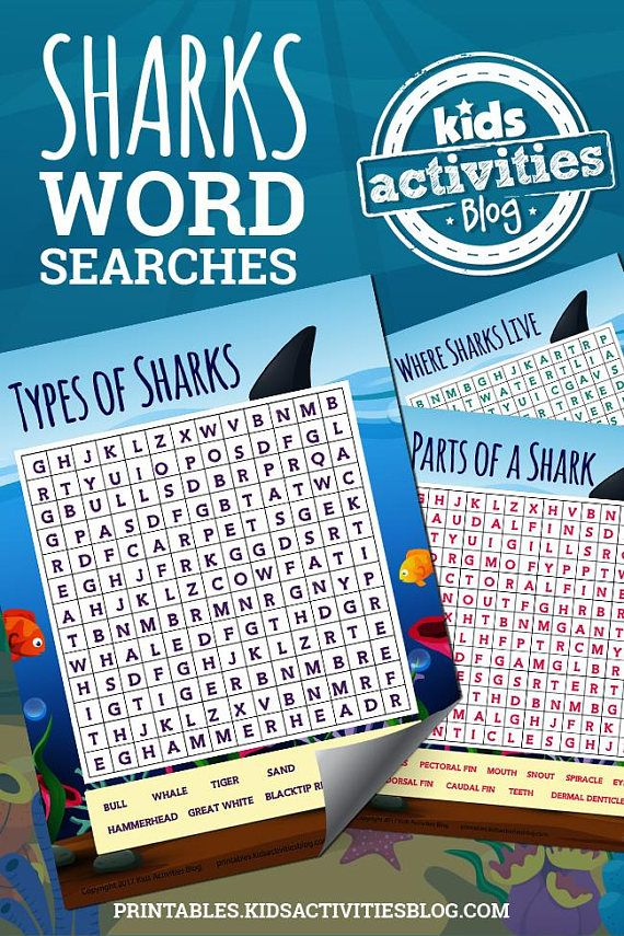 Shark Week just got better with these printable word searches that teach kids about where sharks live, the parts of a shark, and different types of sharks!