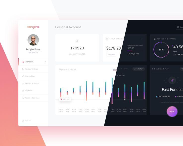 다음 @Behance 프로젝트 확인: \u201cEngine Dashboard - Personal Account Redesign Concept\u201d https://www.behance.net/gallery/48666853/Engine-Dashboard-Personal-Account-Redesign-Concept