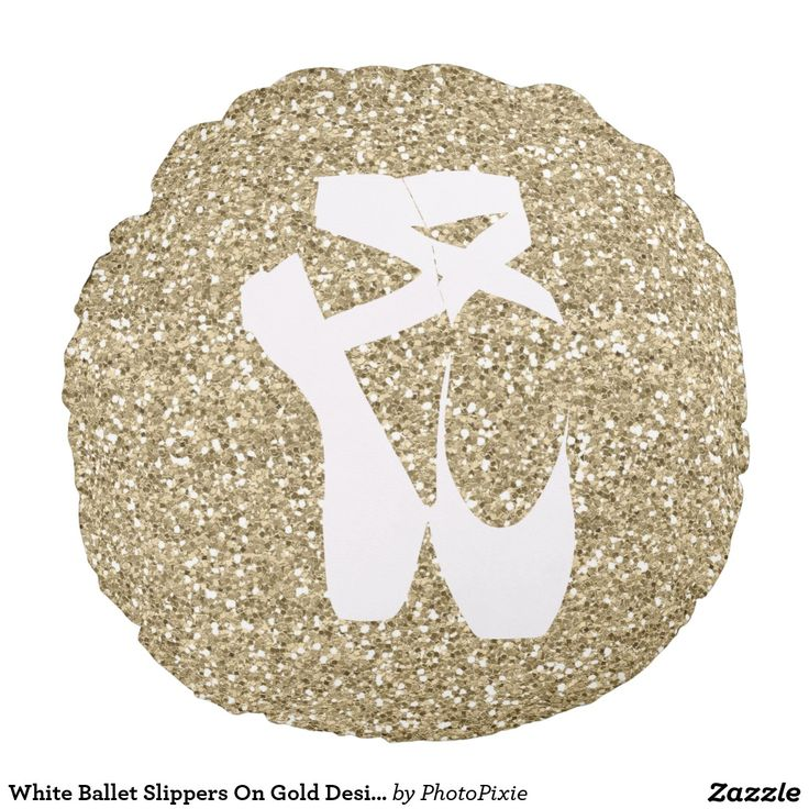 White Ballet Slippers On Faux Gold Design Background Pillow