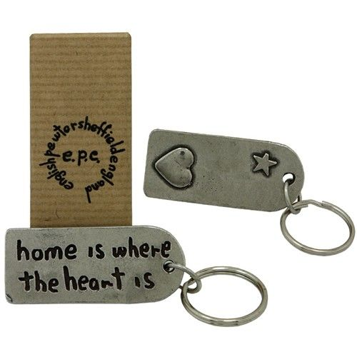 Home Is Where The Heart Is Pewter Keyring  from www.personalisedweddinggifts.co.uk :: ONLY £19.99