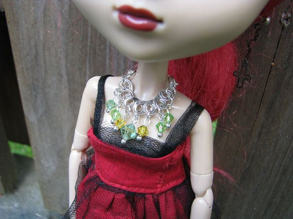 Yellow Green Connector Necklace for Blythe & Pullip by finasma.