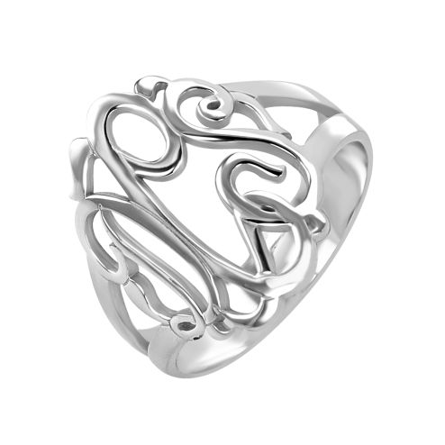 Fine Jewelry Personalized 18mm Script Monogram Heart Ring NRodSWj