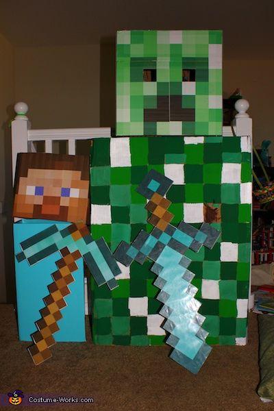 Best 20 creeper costume ideas on pinterest minecraft costumes minecraft halloween costume - Minecraft creeper and steve ...