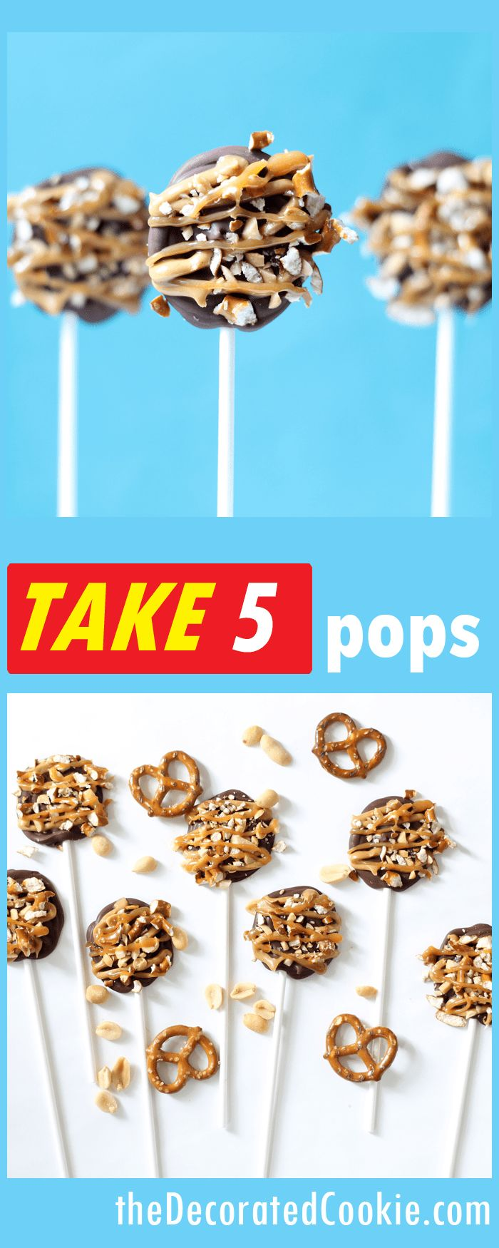 homemade Take 5 pops -- copycat Take Five candy bars on a stick -- caramel, chocolate, peanuts, peanut butter, and pretzels