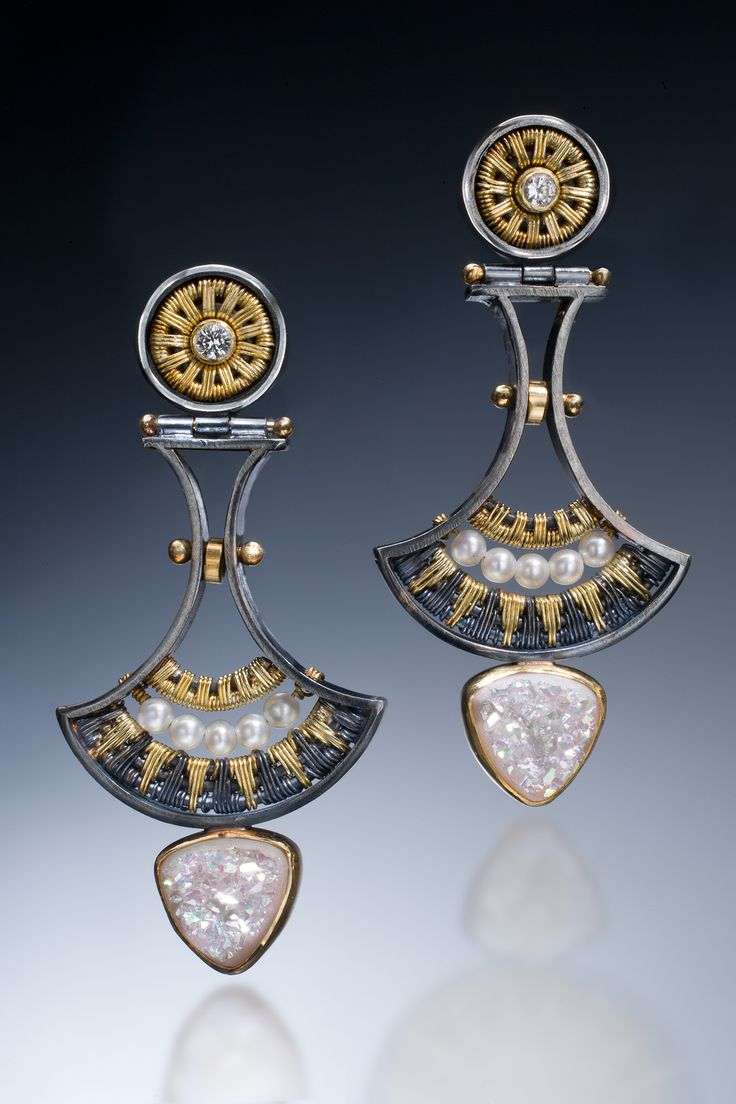 Earrings: 22k, 18k, Oxidized Sterling And Fine Silvers, White Sapphires,  Seed