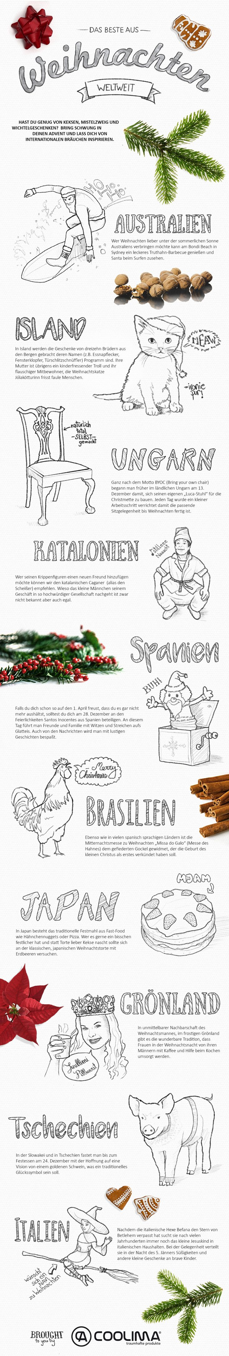 Weihnachten Weltweit! Entdecke spannende Bräuche aus anderen Ländern mit unserer Infografik!