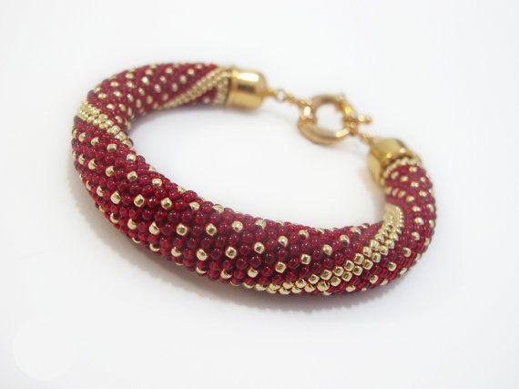 Beaded crochet rope bracelet beadwork red gold by DwarfsTreasure