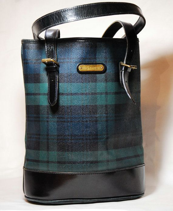 Vintage Classic Polo Ralph Lauren Blackwatch Plaid tartan Leather Tote Purse  With Adjustable Strap  33086b7988476