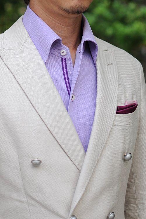 リネンコットのダブルブレスト ジャケットにパープルのニット素材使用 イタリアンカラーシャツ