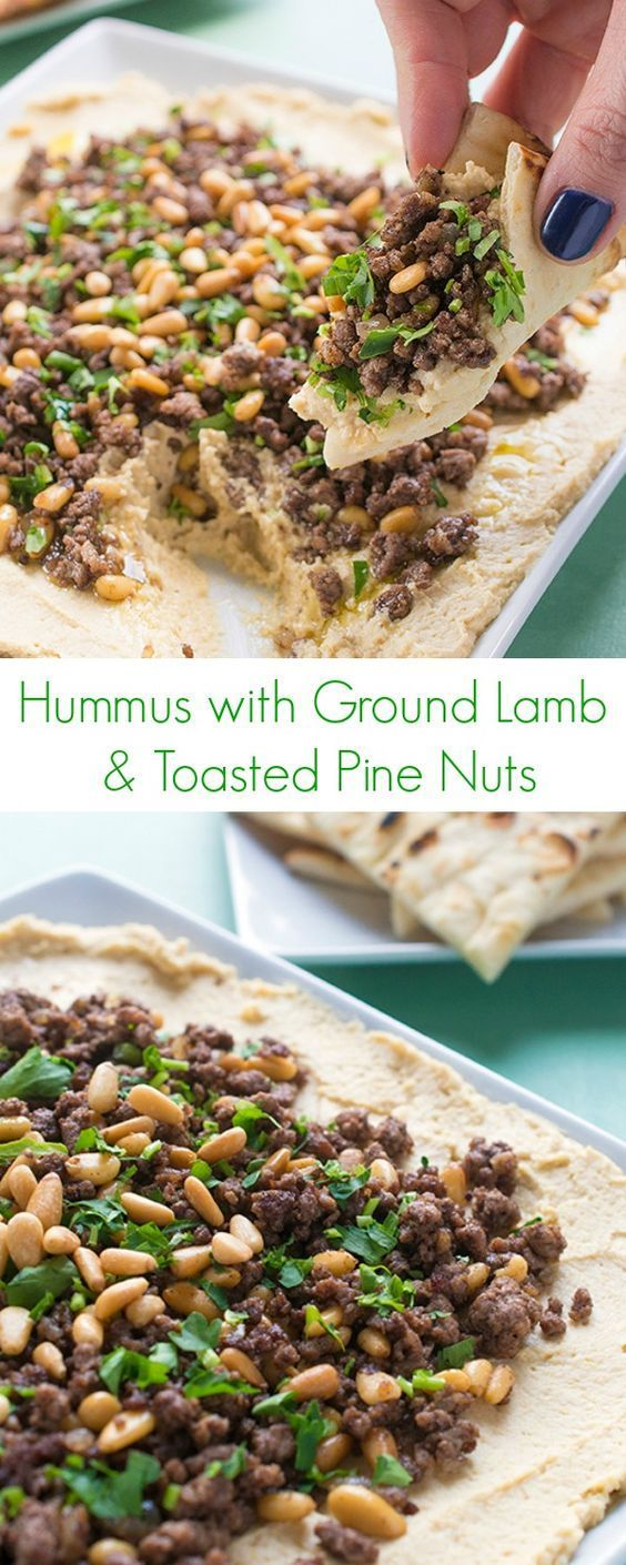 Hummus with Ground Lamb and Toasted Pine Nuts Recipe - A class Lebanese appetizer or snack perfect for any party menu! - The Lemon Bowl