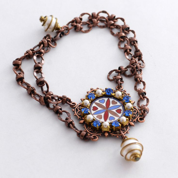 Pennsylvania Dutch German Hex Sign Bracelet, Vintage 1950s Enamel Hoffman Heart and Compass, German Folk Art Bracelet, Copper Bracelet SRAJD by JewelryFineAndDandy on Etsy