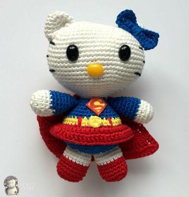 Hello Kitty Superwoman Amigurumi - Patrón Gratis en Español aquí: http://www.artedetei.com/2015/08/amigurumi-hello-kitty-superwoman-patron.html                                                                                                                                                      Más