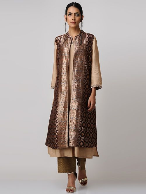 Brown-Gold Vintage Benarasi Silk Brocade Jacket