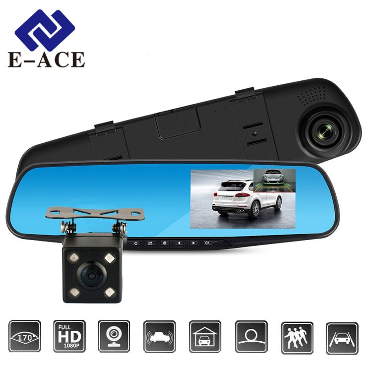 E-ACEフルhd 1080 p車dvrカメラオート4.3インチバックミラーデジタルビデオレコーダーデュアルレンズregistratoryビデオカメラ